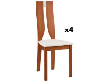 Lot de 4 chaises SILVIA - Hêtre massif - Merisier & Blanc