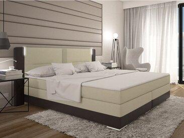 Ensemble boxspring complet tête de lit avec Leds + sommiers + matelas + surmatelas ASTI de DREAMEA - 160x200cm - simili - Chocolat et crème