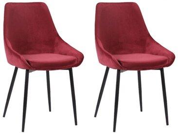 Lot de 2 chaises MASURIE - Velours - Rouge