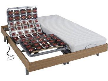 Lit électrique relaxation tout plots matelas latex CASSIOPEE III de DREAMEA - moteurs OKIN - 2x90x200 - chêne