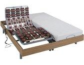 Lit électrique relaxation tout plots matelas latex CASSIOPEE III de DREAMEA - moteurs OKIN - 2 x 90 x 200 cm - chêne
