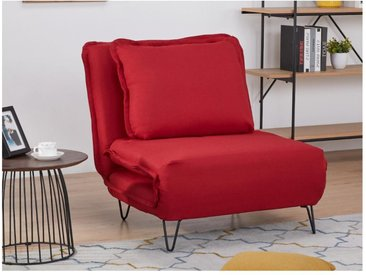 Fauteuil convertible en tissu LOOF - Rouge