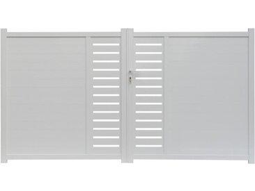 Portail battant en aluminium à motifs GATEO blanc - 350 x 160 cm
