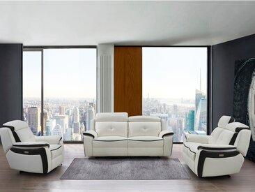 Canapé 3+2+1 places relax électrique en cuir ANGELIQUE - Blanc/anthracite