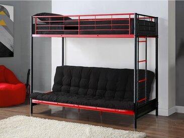 Pack MODULO IV - Lit mezzanine  avec banquette convertible noir et rouge 90x190cm et son futon noir 135x190cm
