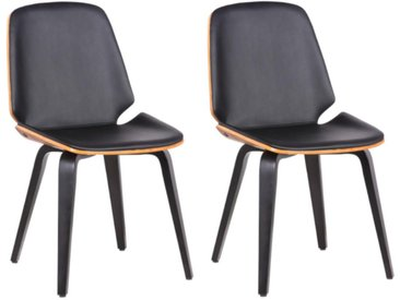 Lot de 2 chaises SANTAREM - Simili - Coloris Noyer et Noir