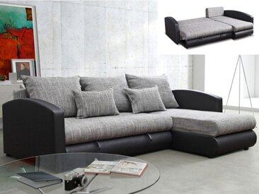 Canapé d'angle convertible et réversible en simili et tissu PIANA - Gris chiné et noir