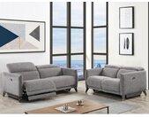 Canapé 3 places relax électrique en tissu CEROLA - Gris
