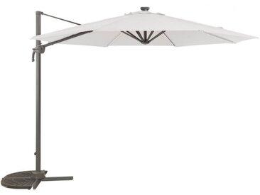 Parasol déporté AIGNAN en acier avec LEDS - Blanc