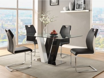 Ensemble table + 4 chaises WINCH - Coloris noir & blanc