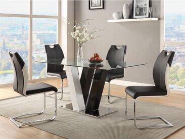 Ensemble table + 4 chaises WINCH - Coloris noir & blanc