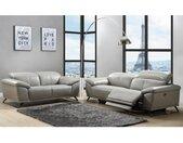 Canapé 3 places relax électrique en cuir AZIDEE - Gris clair