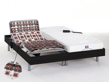 Ensemble relaxation tout plots 100% latex HOMERE III de DREAMEA - noir - 2x80x200cm - moteurs OKIN