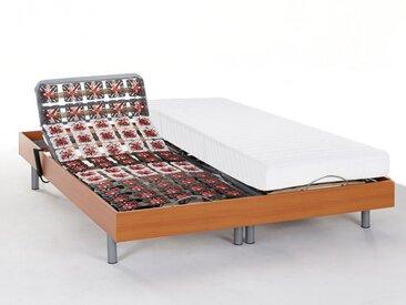 Ensemble relaxation tout plots latex CASSIOPEE III de DREAMEA - moteurs OKIN - 2x80x200 - merisier