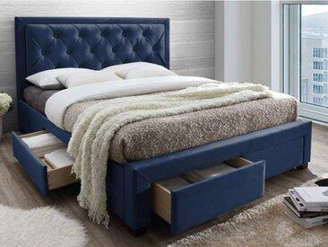 Lit avec tiroirs LEOPOLD - Tissu velours bleu - 160x200cm