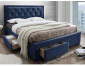 Lit avec tiroirs LEOPOLD - Tissu velours bleu - 160 x 200 cm