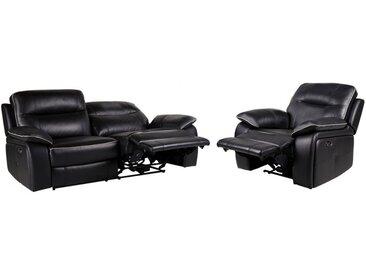 Canapé 3+1 places relax électrique en cuir CATANE - Noir et passepoil gris clair
