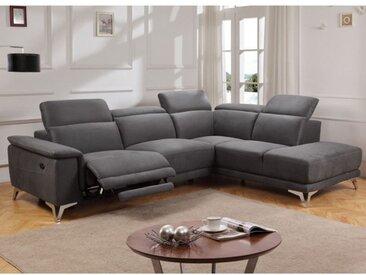 Canapé d'angle relax électrique en tissu BENY - Gris - Angle droit