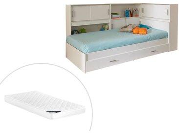 Lit BASILE avec rangements et 2 tiroirs - modulable 90 x 190 cm ou 90 x 200 cm - Blanc + Matelas 90 x 190 cm