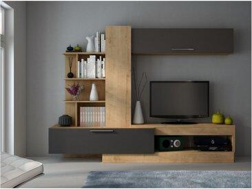 Mur TV DEREK avec rangements - Coloris : Chêne & anthracite