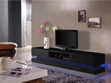 Meuble TV FIRMAMENT - MDF laqué noir - LEDs - 2 tiroirs & 1 niche