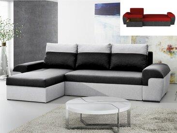 Canapé d'angle réversible et convertible en tissu GABY - Bicolore noir et gris clair