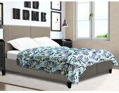 Lit AUGUSTE tête de lit coutures verticales - 140 x 190 cm - Tissu - Beige