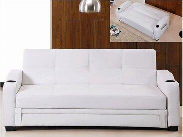 Canapé convertible clic clac en simili MIRELLA - Blanc