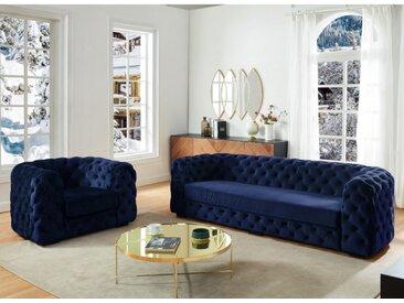 Canapé 3 places et fauteuil chesterfield STANLEY - Velours bleu nuit