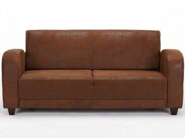 Canapé 3 places club MISTY en microfibre aspect cuir vieilli