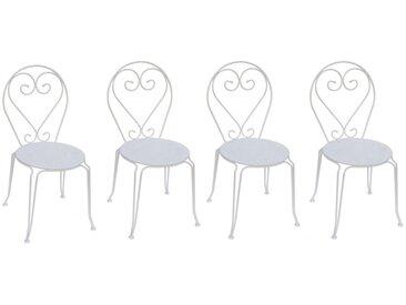 Lot de 4 chaises de jardin empilables en métal façon fer forgé GUERMANTES - blanc