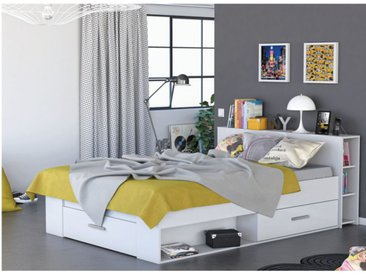 Lit LEONIS avec rangements et tiroirs - 160x200cm - Blanc