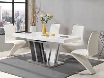 Table à manger extensible NOAMI - 6 à 8 couverts - MDF laqué gris & blanc