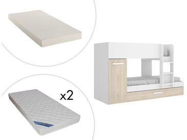Lits Superposés ANTHONY avec rangements 2 x 90 x 190 cm - Blanc et Chêne + matelas