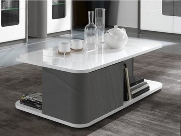 Table basse PERCEPTION - 2 portes - Gris & Blanc