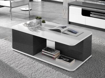 Table basse PERCEPTION - 2 portes - Gris & Blanc