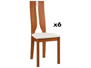 Lot de 6 chaises SILVIA - Hêtre massif - Merisier & Blanc