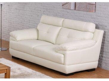 Canapé 2 places en cuir de buffle MANUELLA - Blanc ivoire