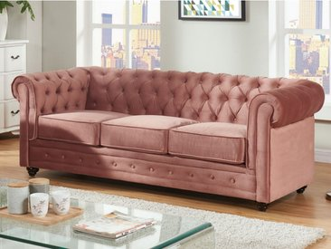 Canapé 3 places CHESTERFIELD - Velours rose pastel