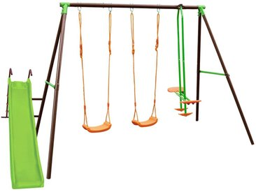 Portique en acier BLANDINE 4 agrès - Tricolore - L354 x l188 x H196 cm