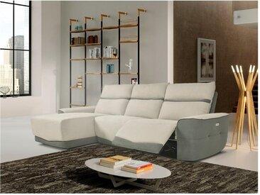 Canapé d'angle relax électrique en tissu RHODES - Bicolore gris et anthracite - Angle gauche