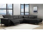 Canapé d'angle relax électrique en cuir AZIDEE - Noir - Angle droit