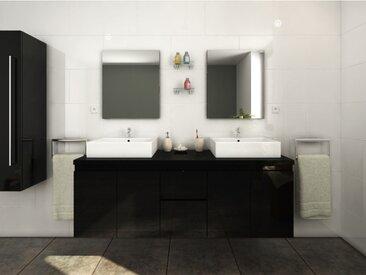 Meubles de salle de bain LAVITA II suspendus avec double vasque et miroirs - Noir