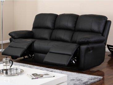 Canapé 3 places relax en cuir MILAGRO - Noir