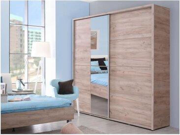 Armoire GALINA - 2 portes coulissantes - Avec miroir - L.184 cm - Chêne