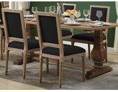 Lot de 2 chaises AMBOISE - Tissu & Bois de Chêne - Noir