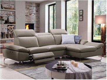 Canapé d'angle relax électrique en cuir de buffle MARSALA -  Taupe - Angle droit