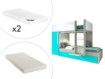 Lits superposés avec tiroir lit gigogne ANTONIO - 3x90x190cm - Armoire intégrée - Pin turquoise et blanc + matelas