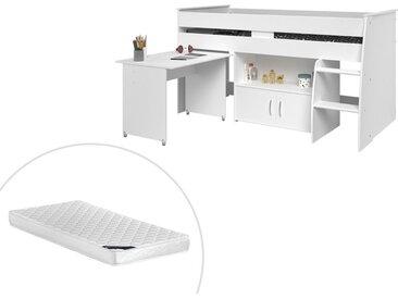 Lit combiné MARCELLE - Avec Bureau et rangements - 90 x 200 cm - Blanc + matelas