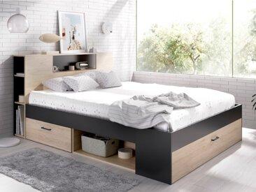 Lit LEANDRE avec tête de lit rangements et tiroirs - 160x200cm - Coloris : Chêne et anthracite
